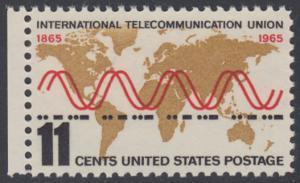 """USA Michel 890 / Scott 1274 postfrisch EINZELMARKE RAND links - Internationale Fernmeldeunion (ITU): Radiowellen und Morsezeichen (""""ITU"""") vor Weltkarte"""