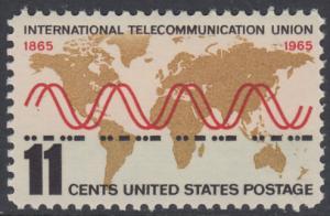 """USA Michel 890 / Scott 1274 postfrisch EINZELMARKE - Internationale Fernmeldeunion (ITU): Radiowellen und Morsezeichen (""""ITU"""") vor Weltkarte"""