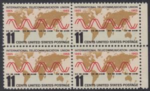 """USA Michel 890 / Scott 1274 postfrisch BLOCK RÄNDER rechts - Internationale Fernmeldeunion (ITU): Radiowellen und Morsezeichen (""""ITU"""") vor Weltkarte"""