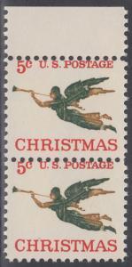 USA Michel 892 / Scott 1276 postfrisch vert .PAAR RAND oben - Weihnachten, Erzengel Gabriel