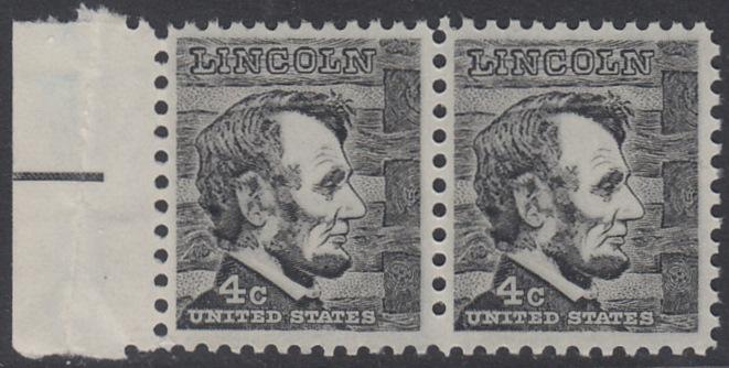 USA Michel 893 / Scott 1282 postfrisch horiz.PAAR RAND links - Berühmte Amerikaner: Abraham Lincoln, 16. Präsident