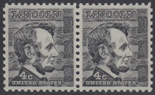 USA Michel 893 / Scott 1282 postfrisch horiz.PAAR - Berühmte Amerikaner: Abraham Lincoln, 16. Präsident