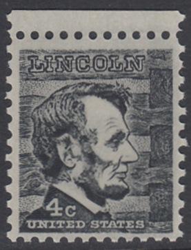 USA Michel 893 / Scott 1282 postfrisch EINZELMARKE RAND oben - Berühmte Amerikaner: Abraham Lincoln, 16. Präsident