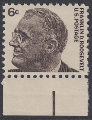 USA Michel 894 / Scott 1284 postfrisch EINZELMARKE RAND unten - Berühmte Amerikaner: Franklin Delano Roosevelt, 32. Präsident