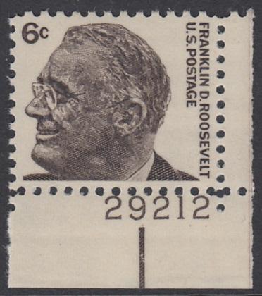USA Michel 894 / Scott 1284 postfrisch EINZELMARKE ECKRAND unten rechts m/Platten-# 29212 - Berühmte Amerikaner: Franklin Delano Roosevelt, 32. Präsident