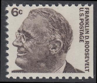USA Michel 894D / Scott 1284b postfrisch EINZELMARKE aus MH (rechts ungezähnt) - Berühmte Amerikaner: Franklin Delano Roosevelt, 32. Präsident