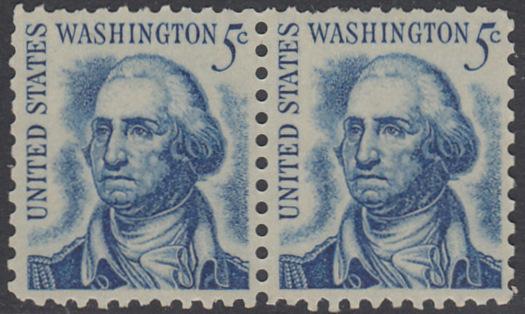USA Michel 895 / Scott 1283 postfrisch horiz.PAAR - Berühmte Amerikaner: George Washington, 1. Präsident