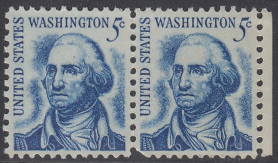 USA Michel 895 / Scott 1283 postfrisch horiz.PAAR RAND rechts - Berühmte Amerikaner: George Washington, 1. Präsident