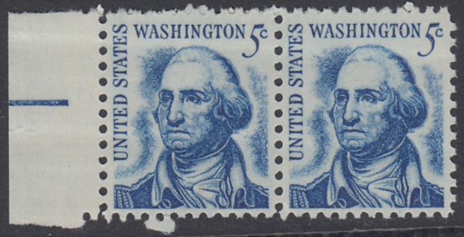 USA Michel 895 / Scott 1283 postfrisch horiz.PAAR RAND links - Berühmte Amerikaner: George Washington, 1. Präsident