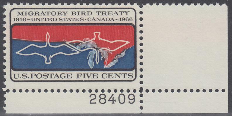 USA Michel 897 / Scott 1306 postfrisch EINZELMARKE ECKRAND unten rechts m/Platten-# 28409 - 50 Jahre Vertrag zwischen den USA und Kanada zum Schutz der Zugvögel