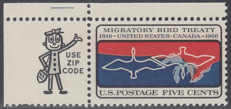 USA Michel 897 / Scott 1306 postfrisch EINZELMARKE ECKRAND oben links m/ZIP-Emblem - 50 Jahre Vertrag zwischen den USA und Kanada zum Schutz der Zugvögel