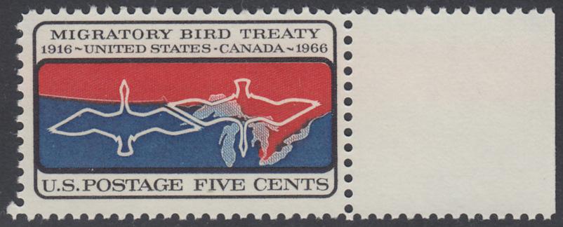 USA Michel 897 / Scott 1306 postfrisch EINZELMARKE RAND rechts - 50 Jahre Vertrag zwischen den USA und Kanada zum Schutz der Zugvögel