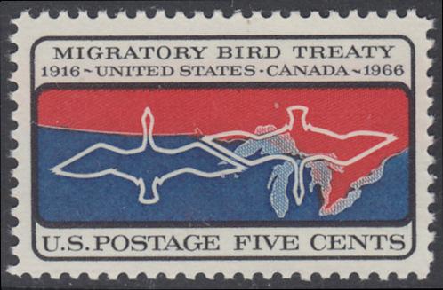 USA Michel 897 / Scott 1306 postfrisch EINZELMARKE - 50 Jahre Vertrag zwischen den USA und Kanada zum Schutz der Zugvögel