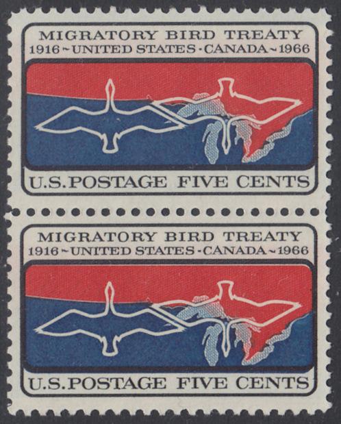 USA Michel 897 / Scott 1306 postfrisch vert.PAAR - 50 Jahre Vertrag zwischen den USA und Kanada zum Schutz der Zugvögel