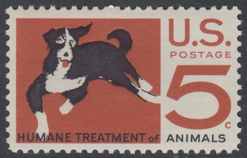 USA Michel 898 / Scott 1307 postfrisch EINZELMARKE - 100 Jahre amerikanischer Tierschutzverein; Hund