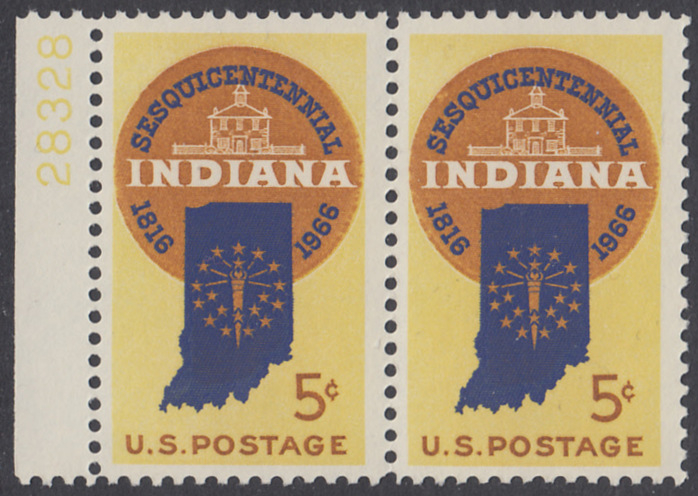 USA Michel 899 / Scott 1308 postfrisch horiz.PAAR RAND links m/Platten-# 28328 - 150 Jahre Staat Indiana; Landkarte von Indiana, altes Regierungsgebäude in Corydon