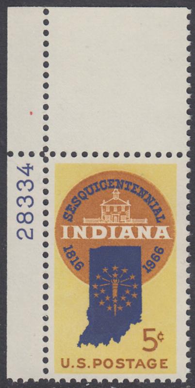USA Michel 899 / Scott 1308 mit Falzrest EINZELMARKE ECKRAND oben links m/Platten-# 28334 - 150 Jahre Staat Indiana; Landkarte von Indiana, altes Regierungsgebäude in Corydon