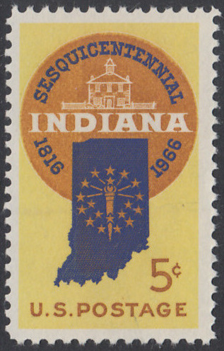 USA Michel 899 / Scott 1308 postfrisch EINZELMARKE - 150 Jahre Staat Indiana; Landkarte von Indiana, altes Regierungsgebäude in Corydon