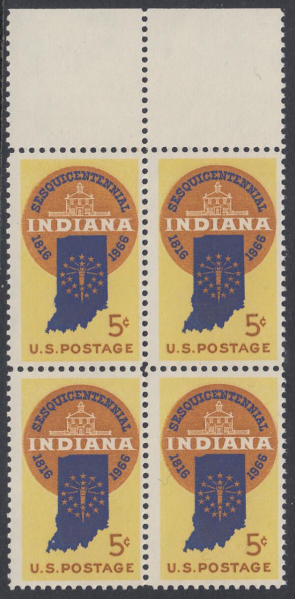 USA Michel 899 / Scott 1308 postfrisch BLOCK RÄNDER oben (a1) - 150 Jahre Staat Indiana; Landkarte von Indiana, altes Regierungsgebäude in Corydon