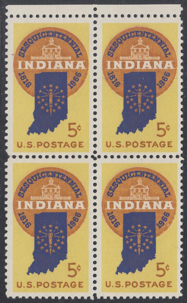 USA Michel 899 / Scott 1308 postfrisch BLOCK RÄNDER oben (a2) - 150 Jahre Staat Indiana; Landkarte von Indiana, altes Regierungsgebäude in Corydon