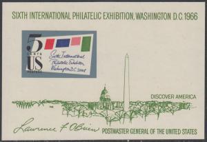 USA Michel 901B / Scott 1311 postfrisch Miniatur-BOGEN - 6. Internationale Briefmarkenausstellung SIPEX, Washington, DC