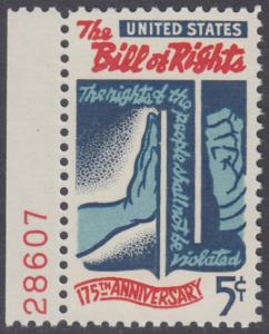 "USA Michel 903 / Scott 1312 postfrisch EINZELMARKE RAND links m/ Platten-# 28607 - 175 Jahre verbriefte Grundrechte in der ""Bill of Rights"""