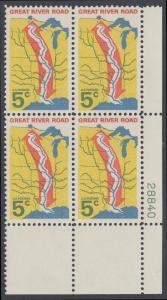 """USA Michel 910 / Scott 1319 postfrisch PLATEBLOCK ECKRAND unten rechts m/ Platten-# 28840 - """"Great River Road"""" - Mississippi-Uferstraße"""