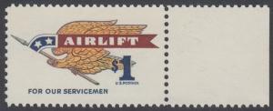 USA Michel 946A / Scott 1341 postfrisch EINZELMARKE RAND rechts - Flugpostmarke: Airlift; Adler mit Fahnenstange