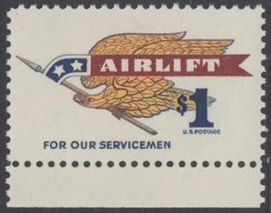 USA Michel 946A / Scott 1341 postfrisch EINZELMARKE RAND unten - Flugpostmarke: Airlift; Adler mit Fahnenstange
