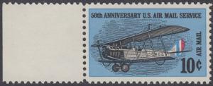 USA Michel 948 / Scott C074 postfrisch Luftpost-EINZELMARKE RAND links - 50 Jahre US-Flugpostdienst; Erstes Postflugzeug Curtiss JN-4 H Jenny