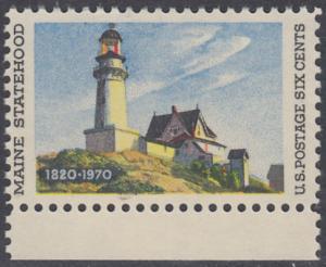 USA Michel 1003 / Scott 1391 postfrisch EINZELMARKE RAND unten - 150 Jahre Staat Maine; Leuchtturm in Two Lights, ME