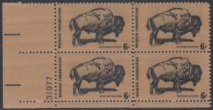 USA Michel 1004 / Scott 1392 postfrisch PLATEBLOCK ECKRAND unten links m/ Platten-# 31977 - Naturschutz: Bison