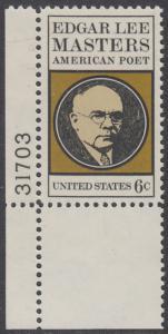 USA Michel 1007 / Scott 1405 postfrisch EINZELMARKE ECKRAND unten links m/ Platten-# 31703 - Edgar Lee Masters, Dichter