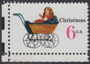 USA Michel 1020 / Scott 1418 postfrisch EINZELMARKE ECKRAND unten links - Weihnachten: Kinderspielzeug, Puppenwagen