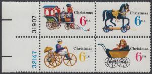 USA Michel 1017-1020 / Scott 1415-1418 postfrisch BLOCK RÄNDER links m/ Platten-# 32147 - Weihnachten: Kinderspielzeug