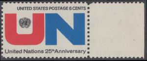 USA Michel 1021 / Scott 1419 postfrisch EINZELMARKE RAND rechts - 25 Jahre Vereinte Nationen (UNO): UNO-Emblem, Inschrift