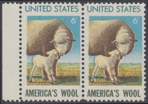 USA Michel 1025 / Scott 1423 postfrisch horiz.PAAR RAND links - 450. Jahrestag der Einfuhr von Schafen: Beginn der Wollindustrie; Mutterschaf mir Lamm