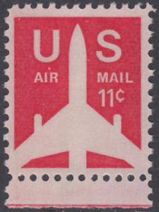 USA Michel 1029A / Scott C078 postfrisch Luftpost-EINZELMARKE RAND unten - Verkehrsflugzeug
