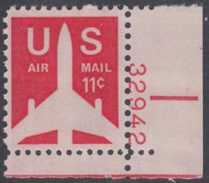 USA Michel 1029A / Scott C078 postfrisch Luftpost-EINZELMARKE ECKRAND unten rechts m/ Platten-# 32942 - Verkehrsflugzeug