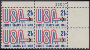 USA Michel 1036 / Scott C081 postfrisch Luftpost-PLATEBLOCK ECKRAND oben rechts m/ Platten-# 33007 - Schriftbild USA, Düsenverkehrsflugzeug