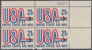 USA Michel 1036 / Scott C081 postfrisch Luftpost-PLATEBLOCK ECKRAND oben rechts m/ Platten-# 33017 - Schriftbild USA, Düsenverkehrsflugzeug