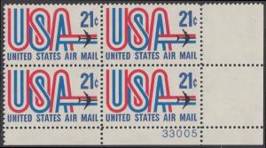 USA Michel 1036 / Scott C081 postfrisch Luftpost-PLATEBLOCK ECKRAND unten rechts m/ Platten-# 33005 - Schriftbild USA, Düsenverkehrsflugzeug
