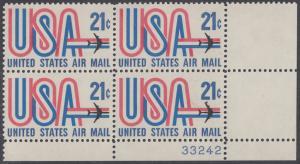USA Michel 1036 / Scott C081 postfrisch Luftpost-PLATEBLOCK ECKRAND unten rechts m/ Platten-# 33242 - Schriftbild USA, Düsenverkehrsflugzeug