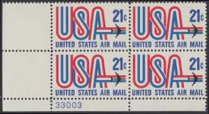 USA Michel 1036 / Scott C081 postfrisch Luftpost-PLATEBLOCK ECKRAND unten links m/ Platten-# 33003 (a) - Schriftbild USA, Düsenverkehrsflugzeug