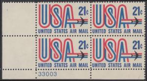USA Michel 1036 / Scott C081 postfrisch Luftpost-PLATEBLOCK ECKRAND unten links m/ Platten-# 33003 (b) - Schriftbild USA, Düsenverkehrsflugzeug