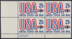 USA Michel 1036 / Scott C081 postfrisch Luftpost-PLATEBLOCK ECKRAND unten links m/ Platten-# 33007 - Schriftbild USA, Düsenverkehrsflugzeug