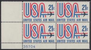 USA Michel 1036 / Scott C081 postfrisch Luftpost-PLATEBLOCK ECKRAND unten links m/ Platten-# 35704 - Schriftbild USA, Düsenverkehrsflugzeug