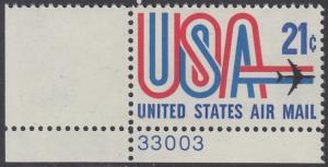 USA Michel 1036 / Scott C081 postfrisch Luftpost-EINZELMARKE ECKRAND unten links m/ Platten-# 33003 - Schriftbild USA, Düsenverkehrsflugzeug