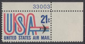 USA Michel 1036 / Scott C081 postfrisch Luftpost-EINZELMARKE ECKRAND oben rechts m/ Platten-# 33003 - Schriftbild USA, Düsenverkehrsflugzeug