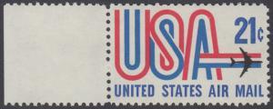 USA Michel 1036 / Scott C081 postfrisch Luftpost-EINZELMARKE RAND links - Schriftbild USA, Düsenverkehrsflugzeug